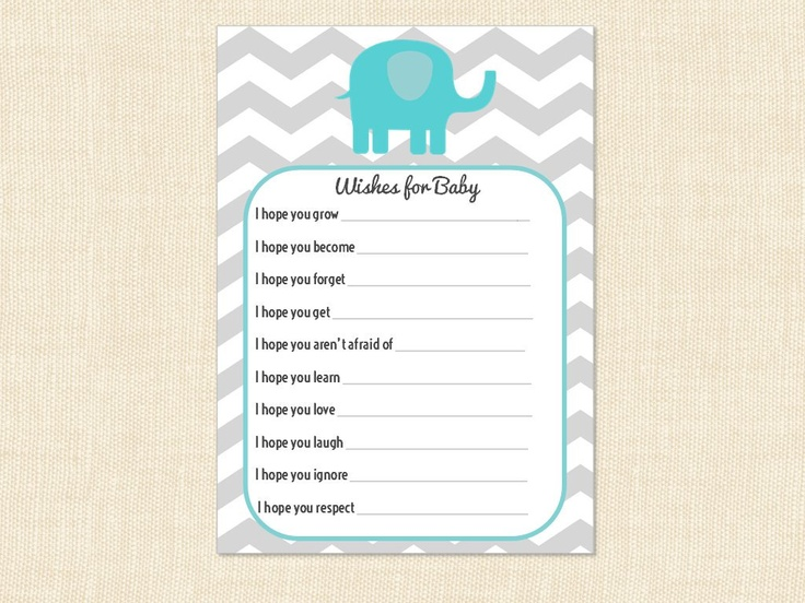 Wishes for Baby Shower advice boy girl elephant by BusyChickadees