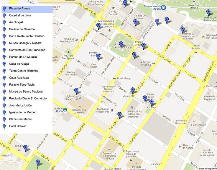 Mapa dos pontos turísticos do centro histórico de Lima, Peru