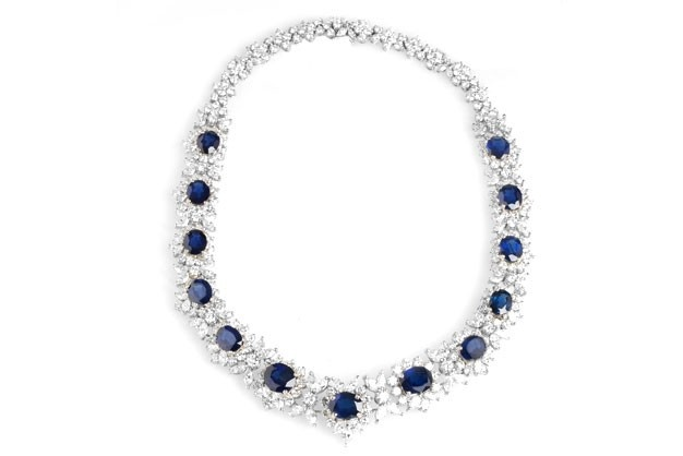 Vintage platinum blue sapphire and diamond necklace