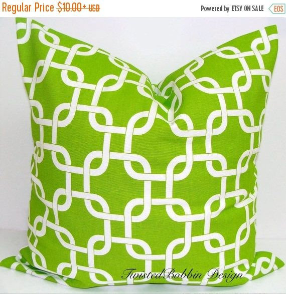 SALE Green Pillow cover Chartreuse and