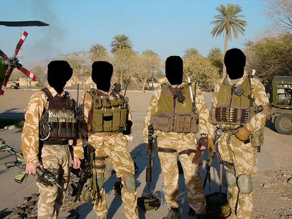 A group of Special Air Service (SAS) soldiers, assigned to Task Force Black, in Iraq.