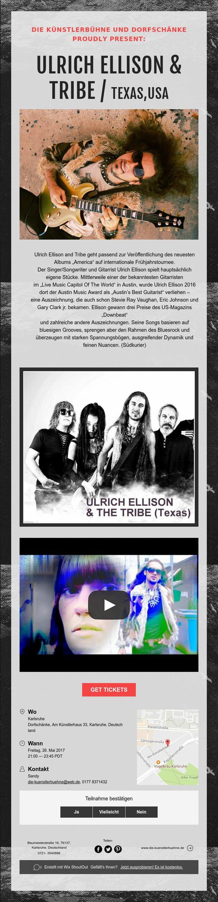 KONZERTANKÜNDIGUNG /Dorfschänke:ULRICH ELLISON & TRIBE/ TEXAS,USA