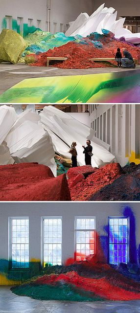 A fantastic, psychedelic visual landscape: One Floor Up More Highly by Katharina Grosse at MASS MoCA. The artist transforms piles of dirt and styrofoam using broad swaths of vibrant paint, simultaneously distorting and reinventing our definition of landscape and canvas.