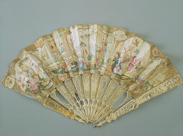 Folding Fan Decorated with Chinoiserie Motifs  Great Britain (mount); China (leaf). 1750s - no later than 1762  Parchment, paper, wood and ivory; painted in gouache, carved and gilded (c) State Hermitage Museum