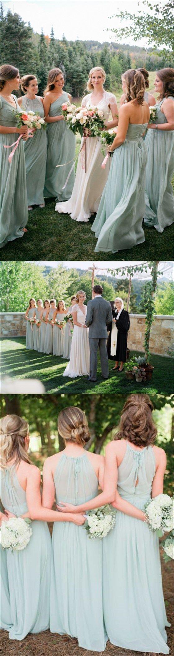 Chiffon Cheap Bridesmaid Dress, Popular Simple Pretty Floor-length Bridesmaid Dresses, PD0305