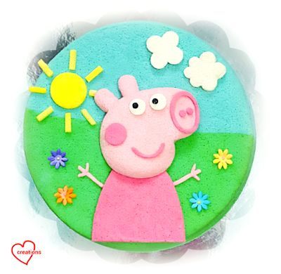 Loving Creations for You: Peppa Pig 2-Flavour/Colour Chiffon Cake (Blue pea ...