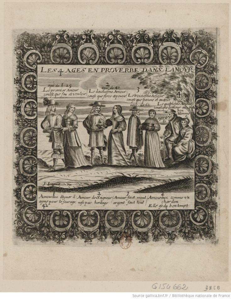 """""""Les 4 Ages en proverbe dans l;Amour"""" -- issued by Lagniet in the 1650s, This is Hennin 3858 in the BNF -- image via gallica"""