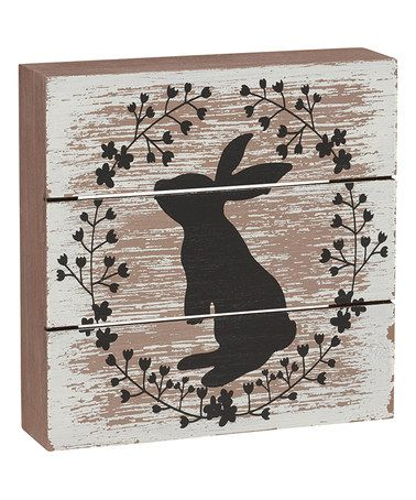 Look what I found on #zulily! Rabbit Wreath Box Sign #zulilyfinds