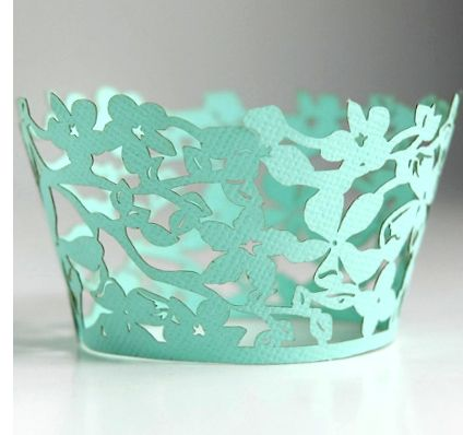 "Laser Cut Cupcake Wrappers ""Magnolia Mint"" 12 for $11.99"
