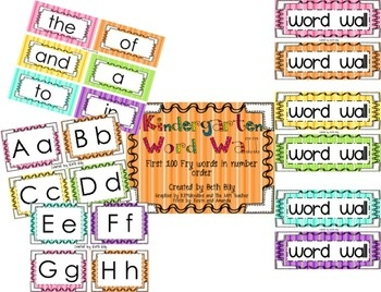 This Kindergarten Word Wall includes a full set of alphabet cards, word wall words, and word wall title. Fry Words-This word wall includes the ...