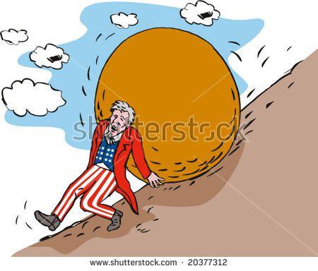 Uncle Sam pushing up a boulder up the hill  #UncleSam #cartoon #illustration