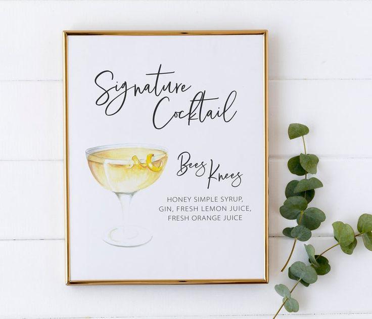 Unterschrift Cocktail Sign – Aquarell Cocktail Sign für Party – Unterschrift Getränke Sign – Geburtstag Cocktail Sign – Aquarell Drink Bar Sign