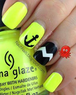Nauti Neon Nails  CHINA GLAZE Yellow Polka Dot Bikini, SALLY HANSEN Onyx with Make it Stick Nail Decals  nautinails.blogspot.com