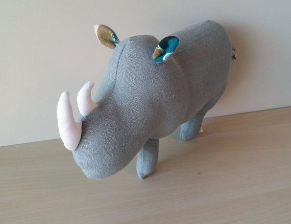 Rhino Stuffed Animal Stuffed Rhino Plush by HarmonyGraceDesigns