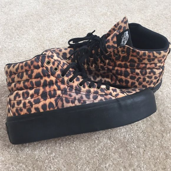 Cheetah print vans sk8 high Cheetah print vans. Sk8 high size 6 men's 7.5 women. Gently worn Vans Shoes Sneakers
