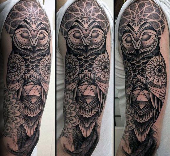 Geometric Owl Mens Half Sleeve Tattoos