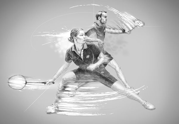 World class badminton players, illustration by Vince Low