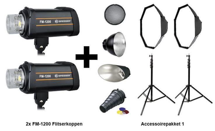 Bresser Flitsset FM-1200 Actiepakket 1  Bresser Flitssset FM-1200  Aktiepakket 1 De FM Serie blinkt uit door betrouwbaarheid snelheid en power! Deze high-speed serie kan 15 keer per seconde flitsen en heeft een flitsduur van 1/800 tot 1/10000. De ingebouwde Sony microprocessor zorgt voor een betrouwbare en constante power output. Op de achterzijde zit een groot en gebruiksvriendelijk bedieningspaneel met LCD scherm. Waarop heel snel en eenvoudig de instelwaarden voor flitsen en instellamp…
