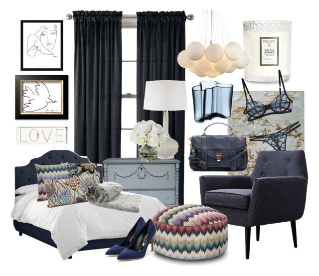 Blue bedroom by beanor on Polyvore featuring polyvore, interior, interiors, interior design, home, home decor, interior decorating, Missoni Home, Home Decorators Collection, Universal Lighting and Decor, Montague & Capulet, Oliver Gal Artist Co., Diane James, McGaw Graphics, iittala, Royal Velvet, Voluspa, Eberjey, Rupert Sanderson, Proenza Schouler and bedroom