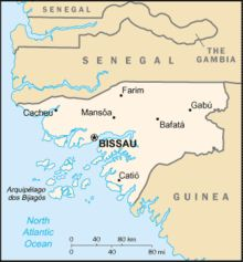 Map of Guinea Bissau with the Bissagos Islands