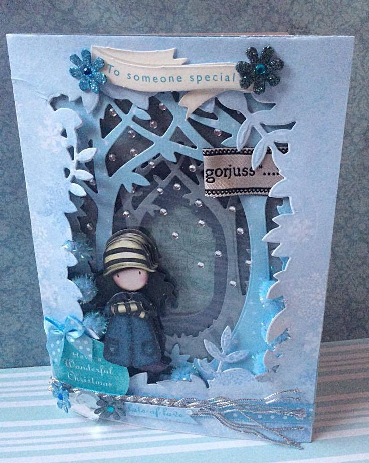 Paper Craft Christmas Card Ideas Part - 48: Santorou0027s Gorjuss Wintery Shadow Box Card By Docrafts
