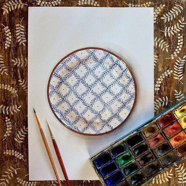Акварельный эскиз тарелочки  Watercolor sketch
