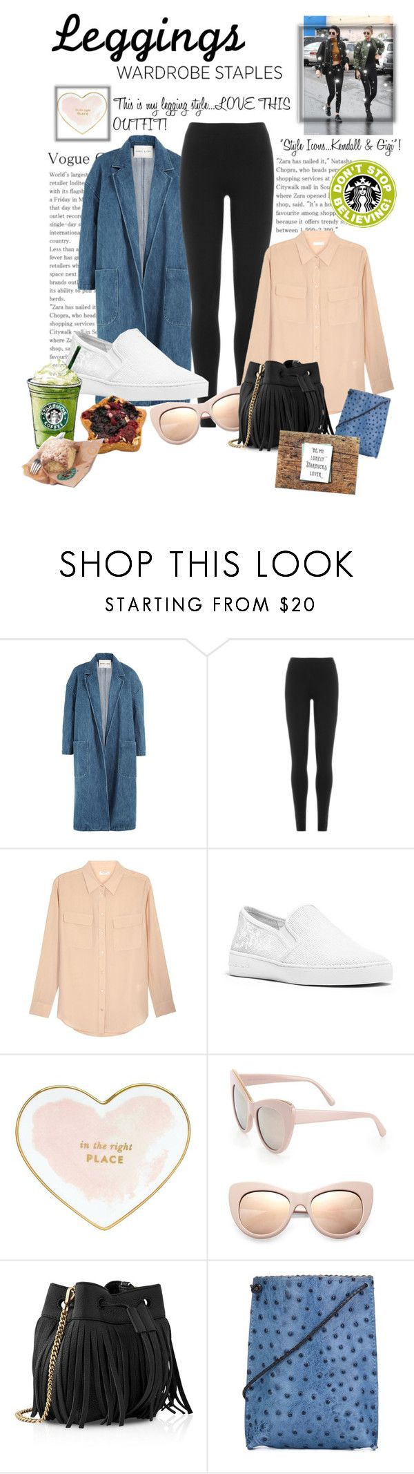 """CONTEST...LEGGINGS...This is my favorite  leggings outfit!"" by onesweetthing ❤ liked on Polyvore featuring Sandy Liang, ASAP, DKNY, Equipment, MICHAEL Michael Kors, Kate Spade, STELLA McCARTNEY, Whistles, B.May and Coffee Shop"