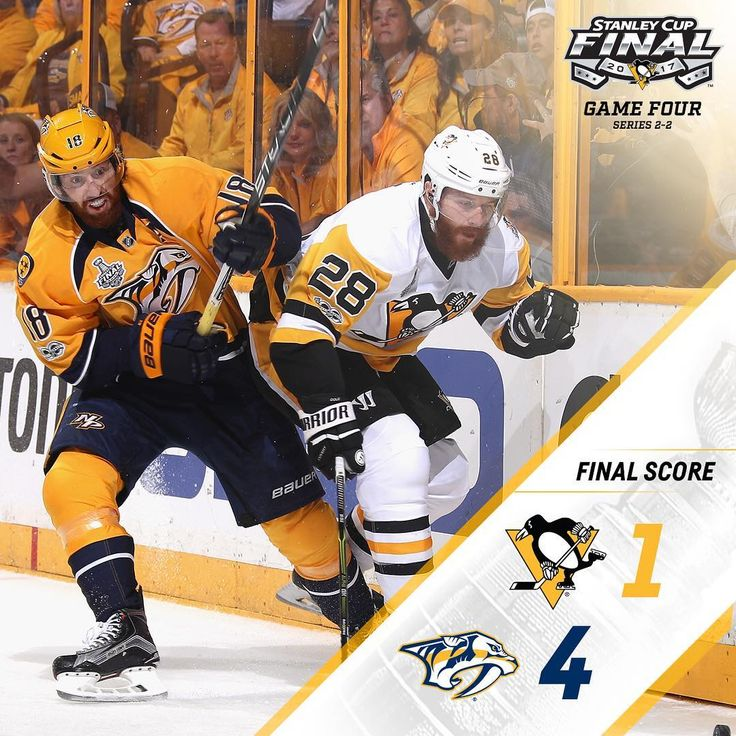 Final: The #Pens fall 4-1 to the Preds. Back to the Burgh for Thursday night's game with the series even at 2-2.
