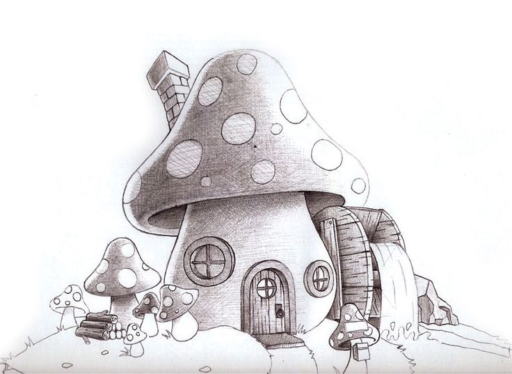Cool Mushroom Drawings Mushroom House Illustration