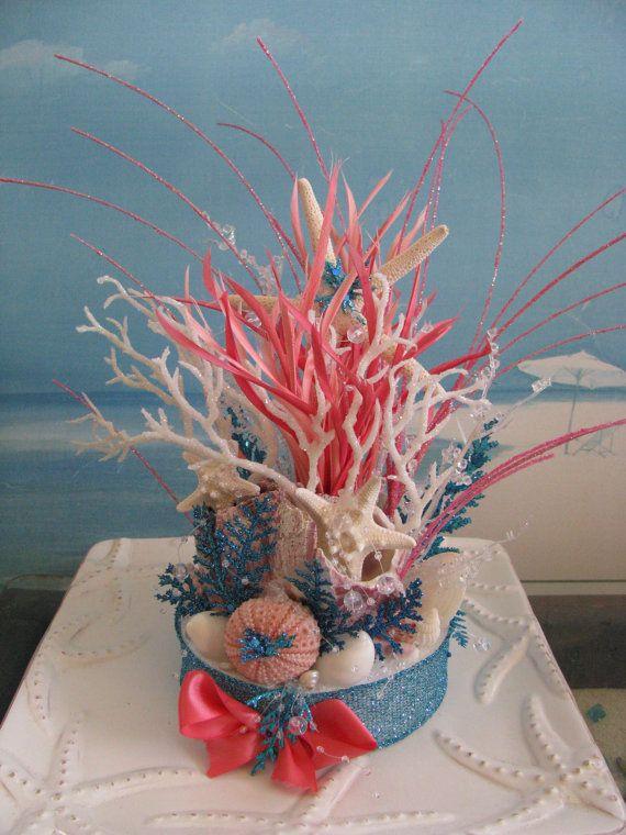 Coral Reef Beach Wedding Cake Topper Beach Wedding