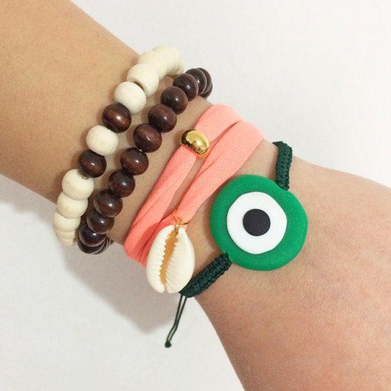 evil eye bracelet greek jewelry polymer clay by christelboutique