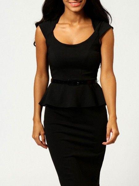 Round Neck  Pure Falbala Bodycon-dress Bodycon Dresses from fashionmia.com