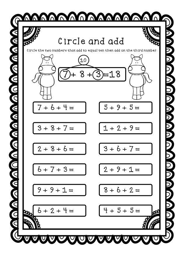 3 Number Addition Worksheet Adding Three Numbers Add 3 Numbers Worksheets Printables In 2020 Math School Teaching Math Math Addition