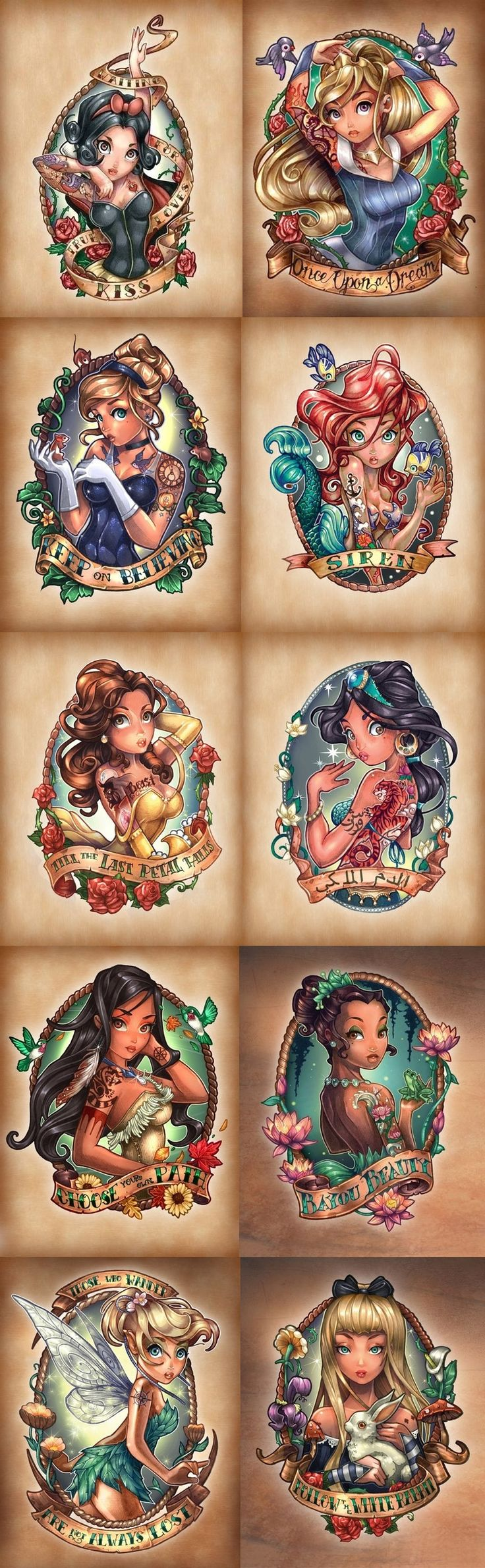 Disney Princesses as fierce vintage tattooed Pin-Ups diffidently want one of these!