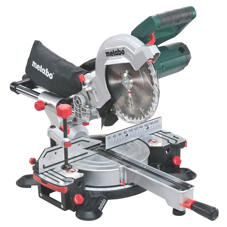 Metabo KGS216M 216mm sliding crosscut mitre saw with laser guide in 240v.
