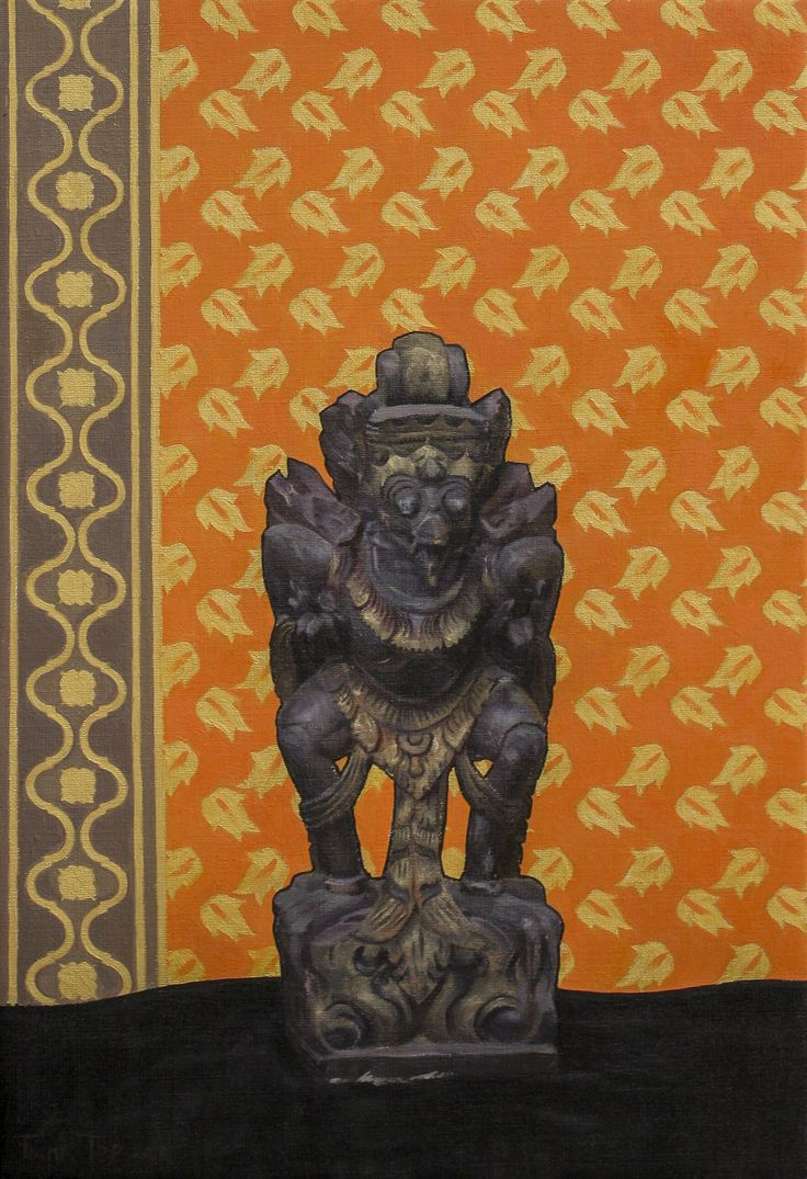 Balinese Statue In Gold And Orange - 60x40cm, oil on canvas, 2015. See www.franktopart.com for availability and pricing.