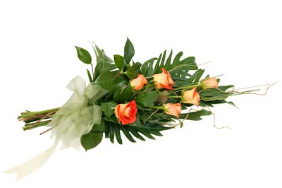 """Rose Sheaf.  """"Romance"""" - Six beautiful roses arranged in a sheaf style and surrounded by dreamy foliage."""
