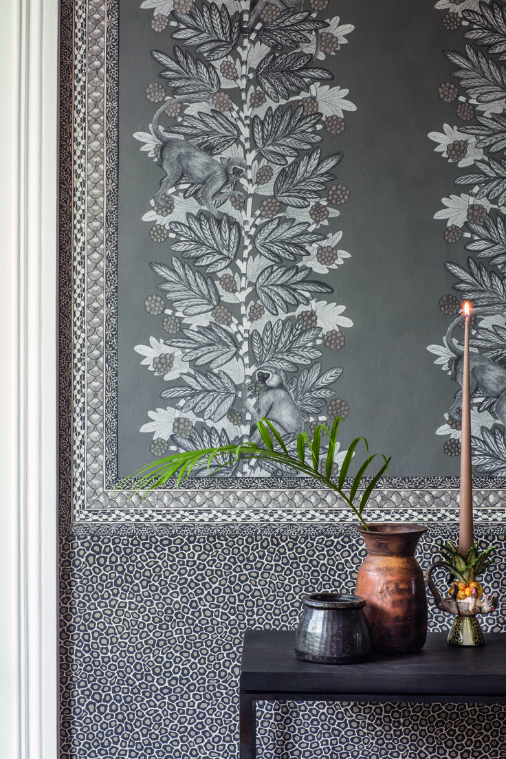 This wallpaper is subtle yet will add drama, especially with the addition of our two charming pranksters | Acacia by Cole & Son | Jane Clayton