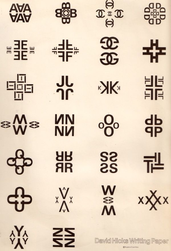 david hicks' alphabet - very similar to an exercise we had to do in my first graphic design class