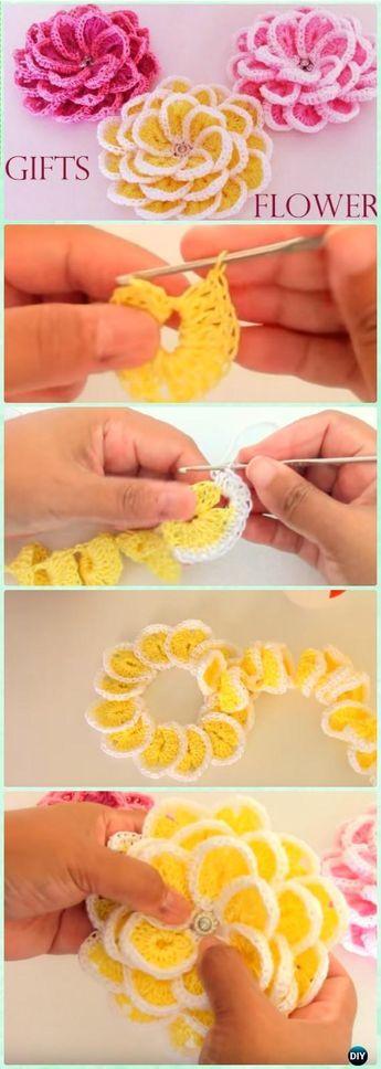 Crochet Single Strip Flower Free Pattern [Video] - Crochet 3D Flower Motif Free Patterns