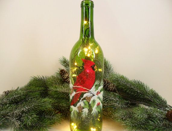 winter wine bottle lights | Lighted Wine Bottle Red Cardinal 750ml by PaintingByElaine on Etsy