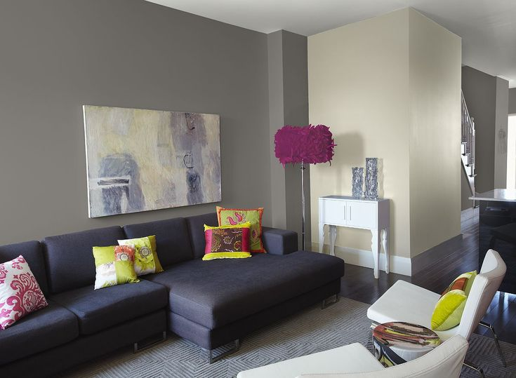 Love the different shades of grey with the dark grey couches, and the little pop of green and white. Description from pinterest.com. I searched for this on bing.com/images