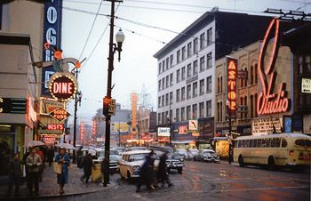 Granville and Smythe, 1959, Vancouver, BC by Fred Herzog