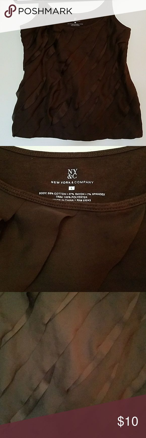 Great fall cami Brown cami with mixed satin & sheer layers New York & Company Tops Camisoles