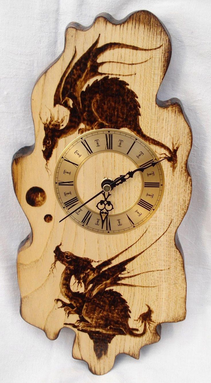 pyrography dragons on clock wood burning