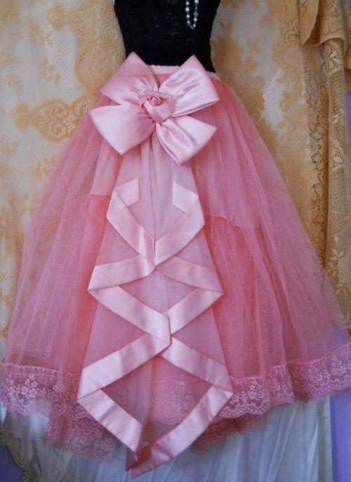 Pink Ballerina Skirt with Satin Edging & Bow on a Waterfall Pleat &Lacy Edging on Hem ....
