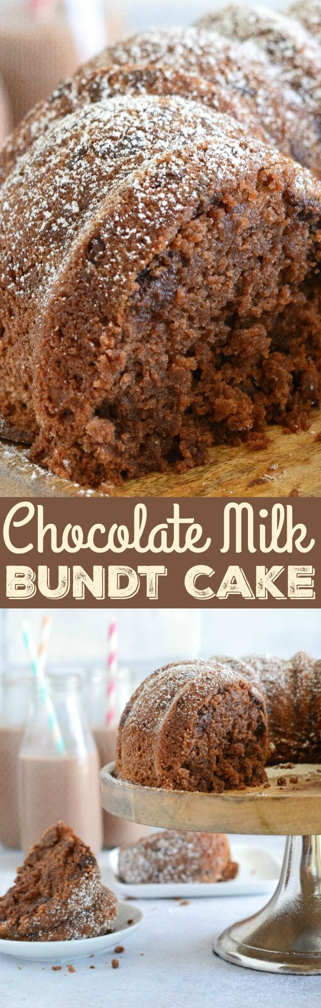 Chocolate Milk Bundt Cake: a sweet, moist homemade chocolate cake that is loaded with a2 Milk®️️ Chocolate 2% Reduced Fat Milk and chocolate chips to create the best bundt cake ever! #ad