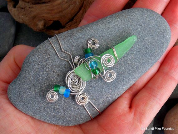 sea glass art / sea glass and sea stones/ wire by LoveFromCapeCod