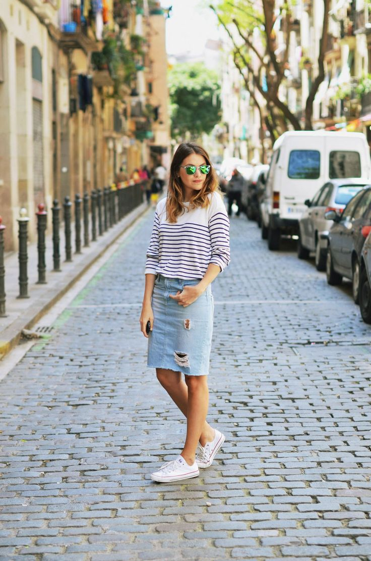 streetstyle women - striped shirt + jeans skirt PEOPLE! | ZARA