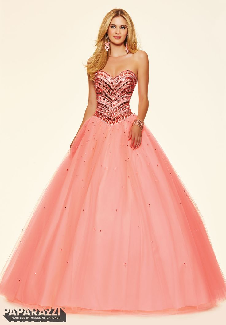 Prom dresses by Paparazzi Prom Jeweled Beading on a Tulle Ball Gown Corset Back Closure. Colors Available: Mint Leaf, Coral Burst